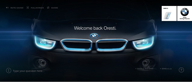 BMWi3 microsite screengrab Welcome back Oresti