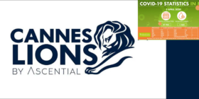 Cannes Lions by Ascential logo with NICD covid-19 stats 2 April 2020
