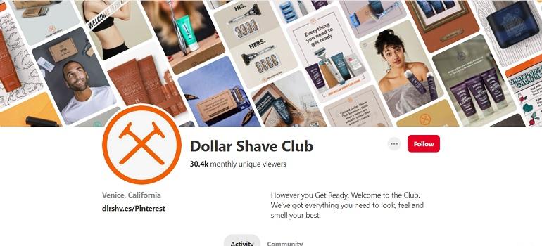 Dollar Shave Club Pinterest profile screengrab
