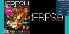Fresh Living, winter 2020, issue 140 and Pick n Pay Fresh Living logo with SA covid-19 stats 28 Jun 2020 - Media Hack Collective