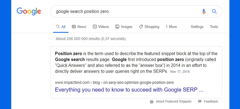Google search position zero screengrab