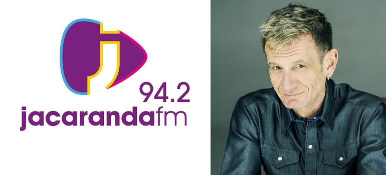 Jacaranda FM logo and Alex Jay slider
