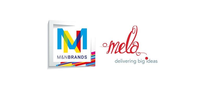 M&N Brands logo and Mela Events logo