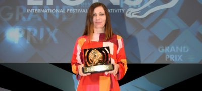 Mariana O'Kelly with 2017 Cannes Lions Radio Grand Prix slider