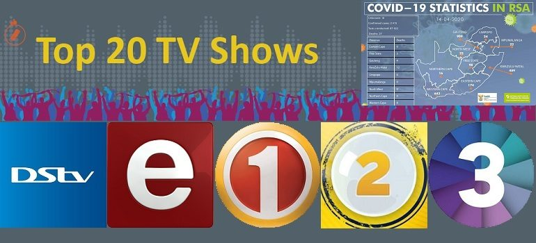 MarkLives South African TV Ratings Top 20 shows with NICD covid-19 stats 14 April 2020