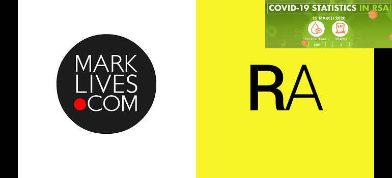 MarkLives logo and Retailing Africa logo with NICD covid-19 stats 25 March 2020
