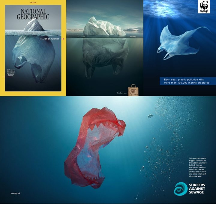 National Geographic, May 2018; Tesco Iceberg; WWF Plastic Ray; and Surfers Against Sewage Red Teeth