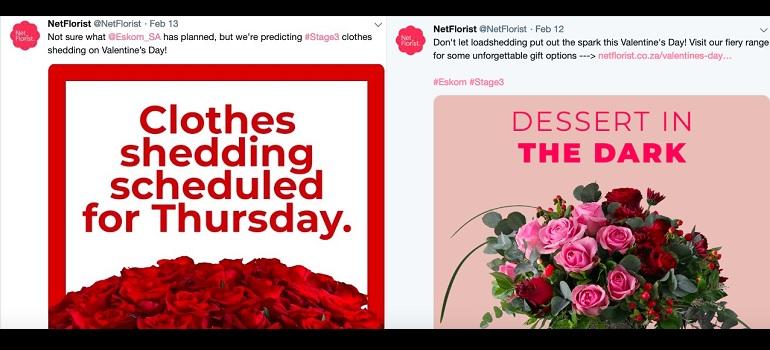 Netflorist tweets about Eskom just before Valentine's Day