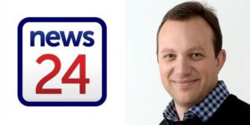 News24 logo and Adriaan Basson