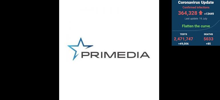Primedia logo with SA covid-19 stats 19 Jul 2020 - Media Hack Collective
