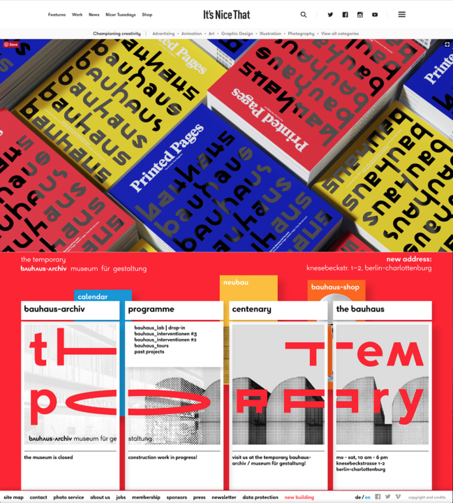Printed Pages, The It's Nice That Magazine, December 2018 and Bauhaus Archiv online, December 2018