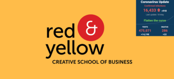 Red & Yellow logo with SA covid-19 stats 18 May 2020 - Media Hack Collective