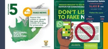 SA government and NICD covid-19 fake news slider with SA covid-19 stats 18 May 2020 - Media Hack Collective