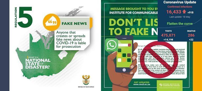 SA government and NICD covid-19 fake news slider with SA covid-19 stats 18 May 2020 - Media Hack Collective