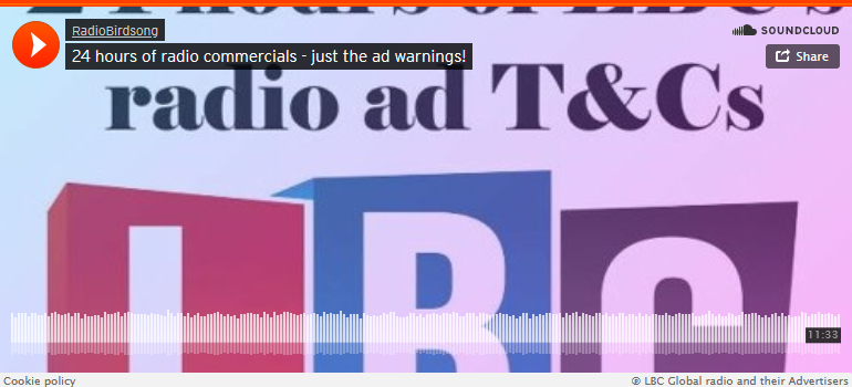 Soundcloud screengrab RadioBirdsong 24 hours of radio commercials - just the ad warnings