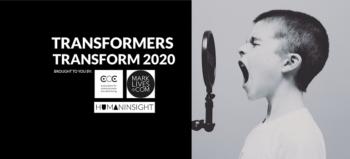 Transformers Transform 2020 logo with boy recording audio