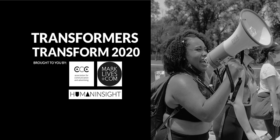 Transformers Transform 2020 logo with woman on megaphone