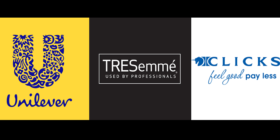 Unilever South Africa logo, TRESemmé logo and Clicks logo