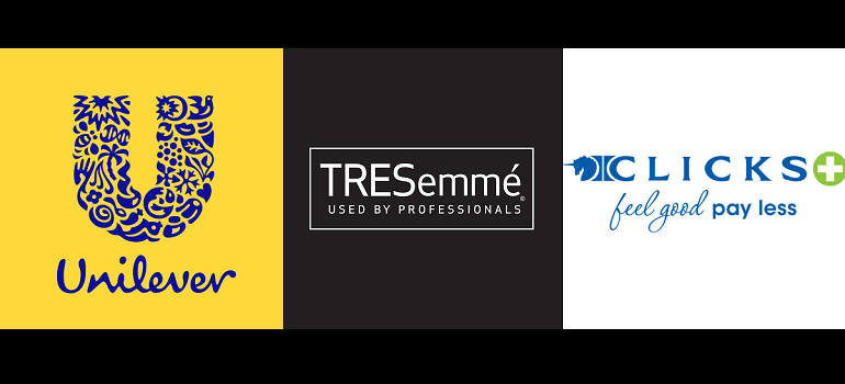 Unilever South Africa logo, TRESemmé logo and Clicks logo