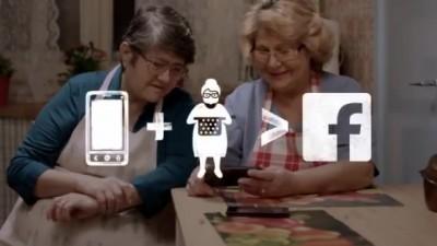 Vodafone Romania Sunday Grannies screengrab app plus gran equals facebook