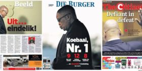 Zuma resigns newspaper front pages