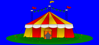 circus-tent-big-flags-yellow-red courtesy of Pixabay