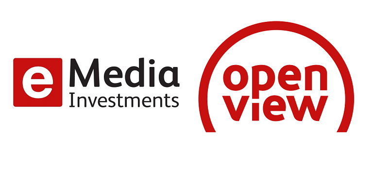 eMedia Investments logo and new OpenView HD logo