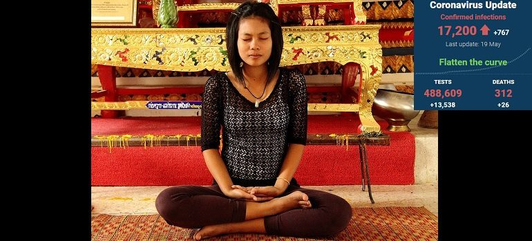 meditation-girl-temple-quiet courtesy by Dean Moriarty of Pixabay with SA covid-19 stats 19 May 2020 - Media Hack Collective