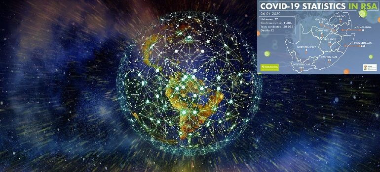 network-earth-block-chain-globe by Gerd Altmann courtesy of Pixabay with NICD covid-19 stats 6 April 2020