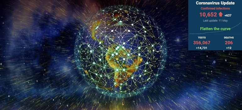 network-earth-block-chain-globe by Gerd Altmann courtesy of Pixabay with SA covid-19 stats 11 May 2020 - Media Hack Collective