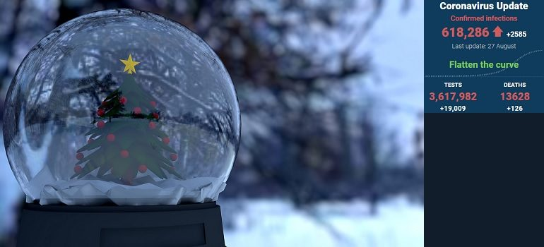 snow-globe-christmas-snow-winter by GustavoAckles courtesy of Pixabay with SA covid-19 stats 27 Aug 2020 - Media Hack Collective