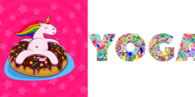 unicorn-donut-rainbow-chocolate and yoga-typography-type-text-words courtesy of Pixabay