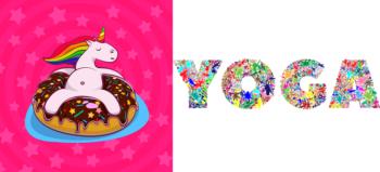 unicorn-donut-rainbow-chocolate and yoga-typography-type-text-words courtesy of Pixabay